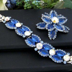 HP Vintage JULIANA Bracelet & Brooch blue navettes